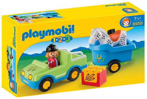 Playmobil 1.2.3 Car with Horse Trailer Set #6958