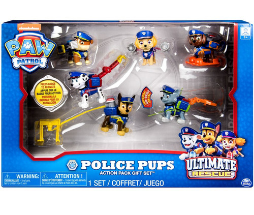 Paw Patrol Ultimate Rescue Police Pups Chase, Zuma, Rubble, Skye, Rocky & Marshall Exclusive Action Pack Gift Set Figure 6-Pack