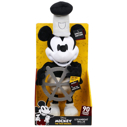 Disney Mickey the True Original 90 Years of Magic Steamboat Willie Exclusive 18-Inch Plush with Sound