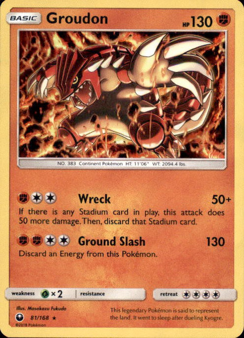 Pokemon Trading Card Game Celestial Storm Rare Holo Groudon #81