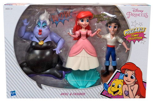 Disney Princess The Little Mermaid Poseable Comic Collection Ariel & Friends Exclusive 5-Inch Basic Figure 3-Pack
