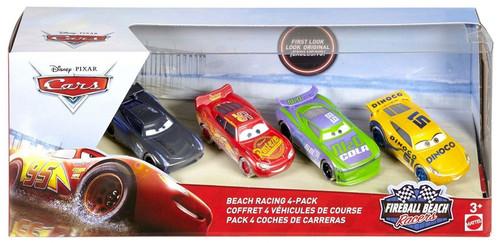 Disney / Pixar Cars Cars 3 Fireball Beach Racers McQueen, H.J. Hollis, Dinoco Cruz Ramirez & Jackson Storm Diecast Car 4-Pack
