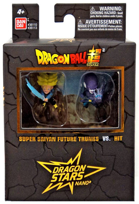 Dragon Ball Super Dragon Stars Nano Super Saiyan Future Trunks Vs. Hit 1.5-Inch Mini Figure 2-Pack