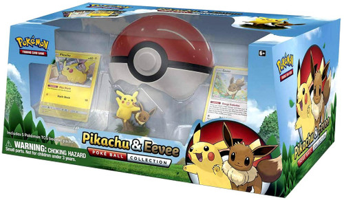 Pokemon Trading Card Game Pikachu & Eevee Poke Ball Collection [5 Booster Packs, 2 Promo Cards, Figure & Pokeball Case!]