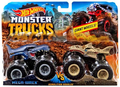 Hot Wheels Monster Trucks Demolition Doubles Mega-Wrex vs. Leopard Shark Diecast Car 2-Pack