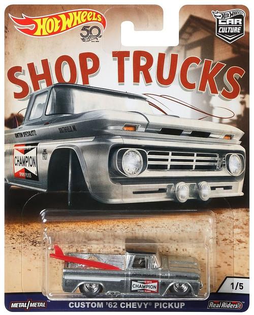 Hot Wheels Car Culture Shop Trucks Custom '62 Chevy Pickup Diecast Car #1/5