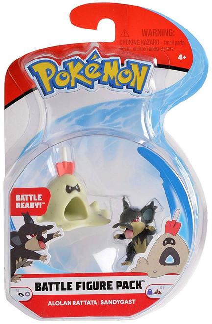 Pokemon Series 1 Battle Figure Alolan Rattata & Sandygast 2-Inch Mini Figure 2-Pack