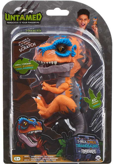 Fingerlings Untamed Dinosaur Scratch the T-Rex Figure [Orange & Blue]