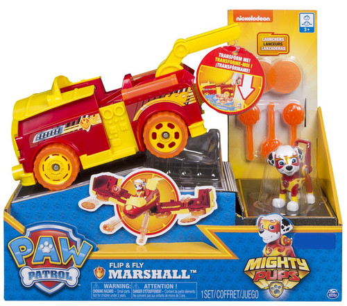 Paw Patrol Mighty Pups Flip & Fly Marshall Exclusive Transforming Vehicle & Figure