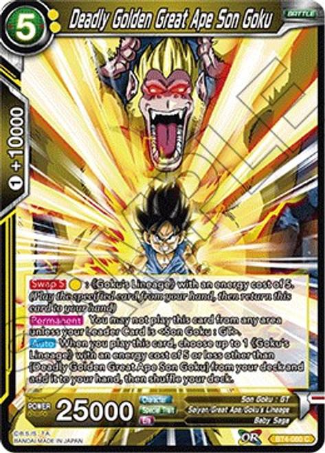 Dragon Ball Super Trading Card Game Colossal Warfare Common Deadly Golden Great Ape Son Goku BT4-080