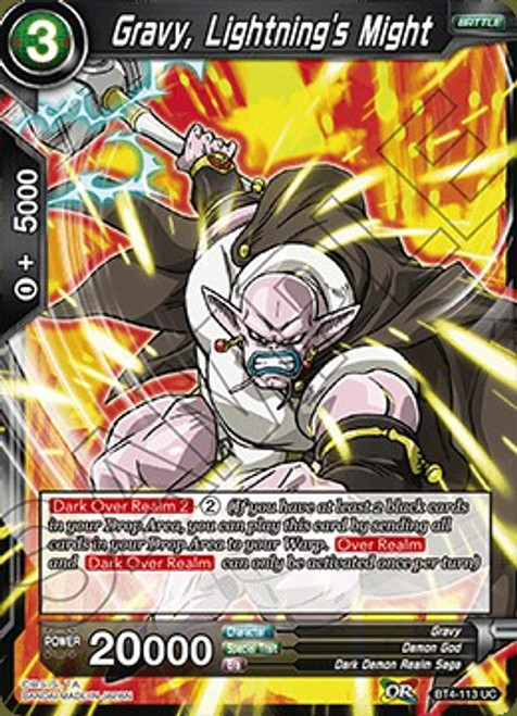 Dragon Ball Super Collectible Card Game Colossal Warfare Uncommon Gravy, Lightning's Might BT4-113