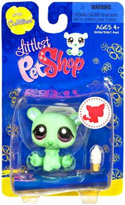 Littlest Pet Shop Green Polar Bear with Ice Cream Cone Figure [Cuddliest]