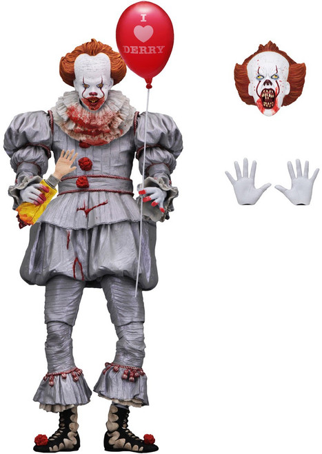 NECA IT Movie (2017) Pennywise Exclusive Action Figure [Ultimate Version, Bloody, I Love Derry Balloon]