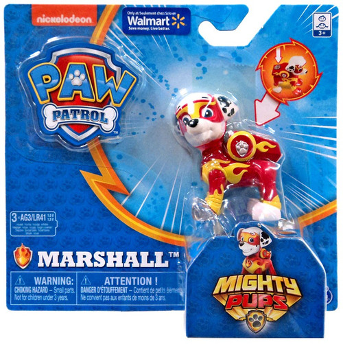 Paw Patrol Mighty Pups Marshall Exclusive Figure [Light-up Badge & Paws]
