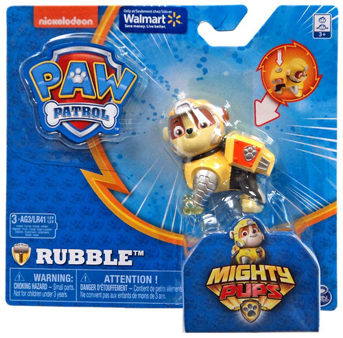 Paw Patrol Mighty Pups Rubble Exclusive Figure [Light-up Badge & Paws]