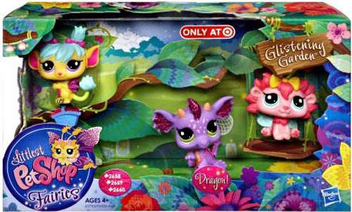 Littlest Pet Shop Fairies Glistening Garden Dragon, Rose & Daffodil Exclusive Figure 3-Pack #2658, 2659, 2660
