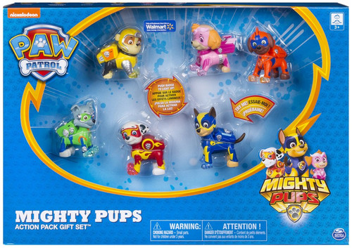 Paw Patrol Mighty Pups Chase, Zuma, Rubble, Skye, Rocky & Marshall Exclusive Action Pack Gift Set Figure 6-Pack