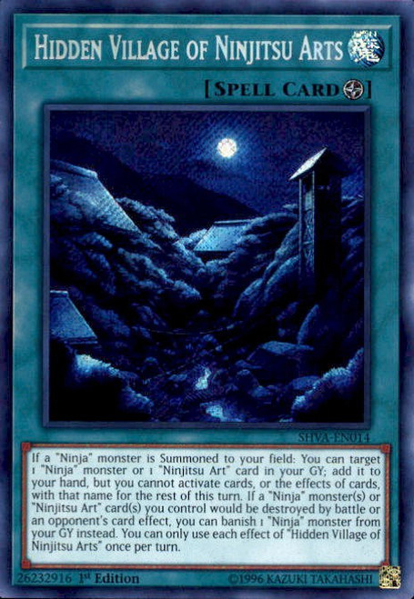 YuGiOh Shadows over Valhalla Secret Rare Hidden Village of Ninjitsu Arts SHVA-EN014