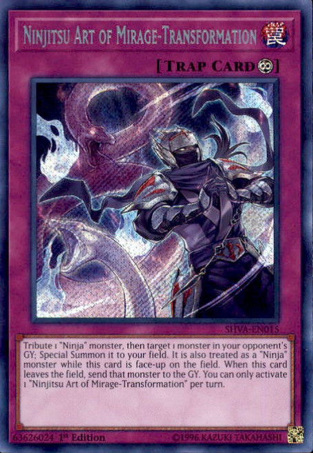 YuGiOh Shadows over Valhalla Secret Rare Ninjitsu Art of Mirage-Transformation SHVA-EN015