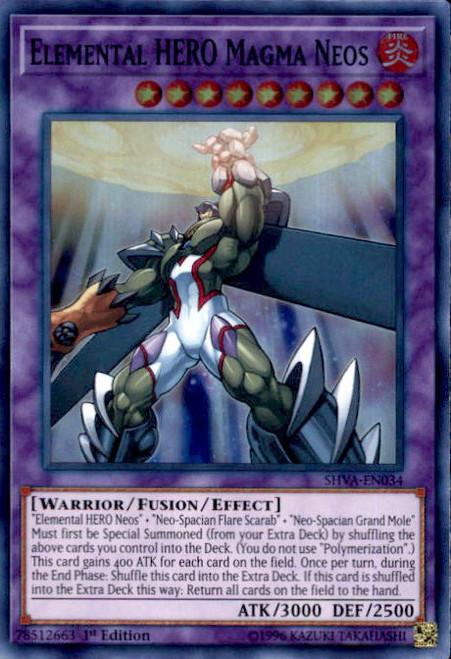 YuGiOh Shadows over Valhalla Super Rare Elemental HERO Magma Neos SHVA-EN034
