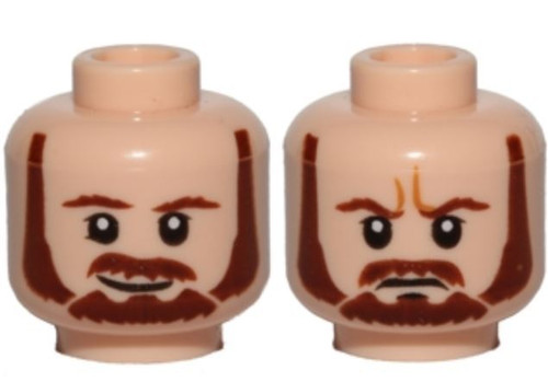 Star Wars Brown Beard, Moustache, White Pupils, Smile / Frown (Qui-Gon) Minifigure Head [Dual-Sided Print Loose]