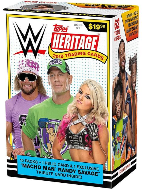WWE Wrestling Topps 2018 Heritage Trading Card BLASTER Box [10 Packs & 1 Relic Card!]