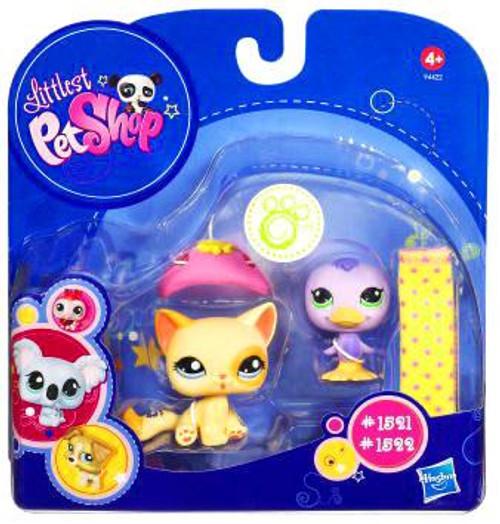 Littlest Pet Shop Series 4 Yellow Cat & Purple Duck 2-Pack