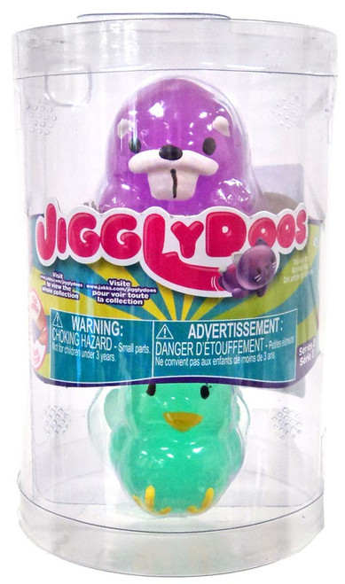 JigglyDoos Series 2 Purple Beaver & Green Turkey Squeeze Toy 2-Pack