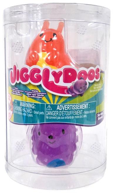 JigglyDoos Series 2 Orange Slug & Purple Hedgehog Squeeze Toy 2-Pack