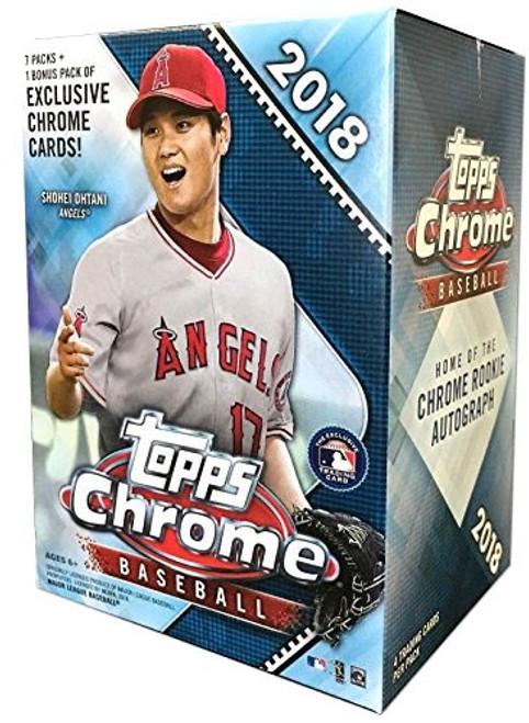MLB Topps 2018 Chrome Baseball Trading Card BLASTER Box [7 Packs + 1 Bonus Pack]