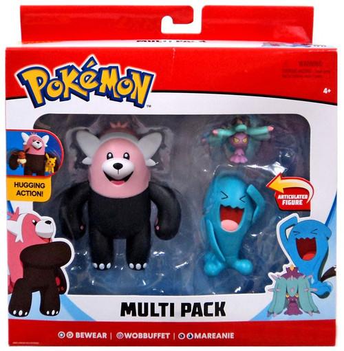 Pokemon Series 1 Battle Figure Bewear, Wobbuffet & Mareanie 3-Inch Figure 3-Pack