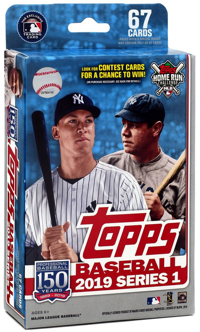 MLB Topps 2019 Series 1 Baseball Trading Card HANGER Box [67 Cards!]