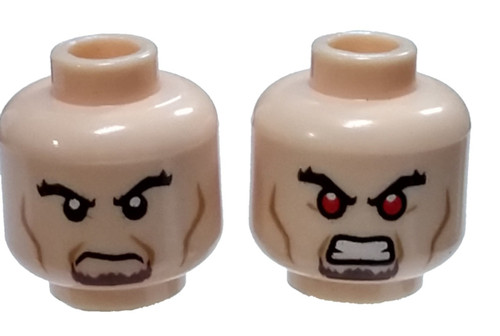 Brown Goatee, Cheek Lines / Bared Teeth with Red Eyes Minifigure Head [Dual-Sided Loose]
