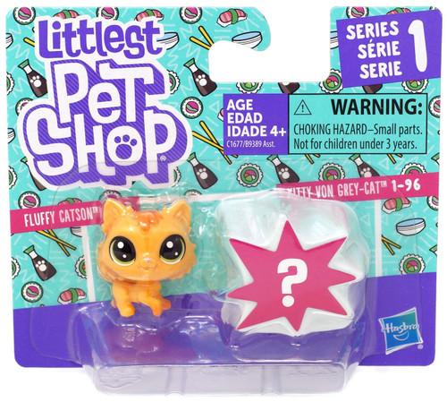 Littlest Pet Shop Fluffy Catson & Kitty Von Grey-Cat Mini Figure 2-Pack