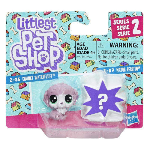 Littlest Pet Shop Chunky Waterfluff 2-86 & Mayor Perrito 2-87 Mini Figure 2-Pack