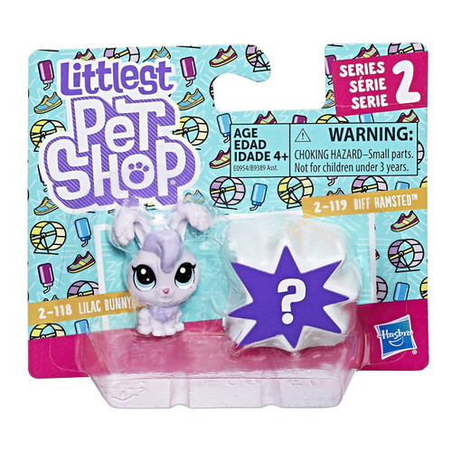 Littlest Pet Shop Lilac Bunnyton 2-118 & Biff Hamsted 2-119 Mini Figure 2-Pack