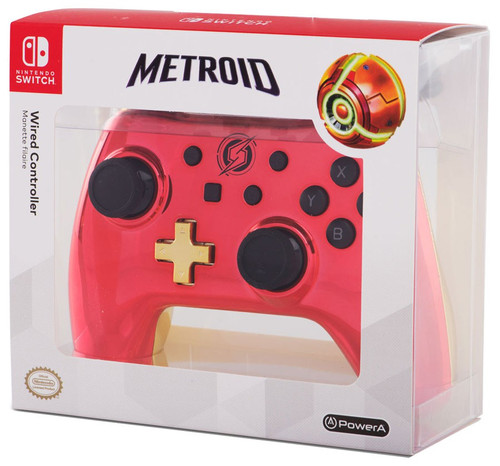 Nintendo Switch Metroid Chrome Samus Video Game Controller [Red & GOld]
