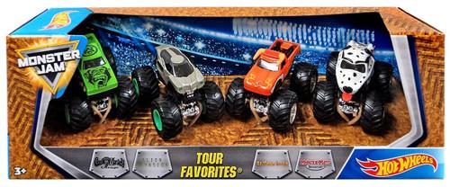 Hot Wheels Monster Jam Tour Favorites Gas Monkey Garage, Alien Invasion, El Toro Loco & Monster Mutt Dalmatian Die-Cast Car 4-Pack