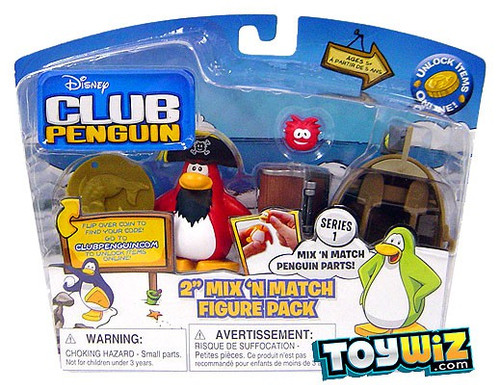 Disney Club Penguin Mix 'N Match Captain Rockhopper with Treasure Mini Figure Pack [Includes Coin with Code!]