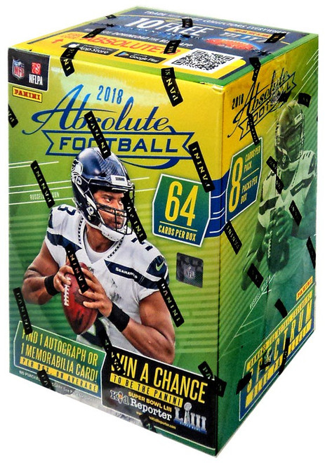 NFL Panini 2018 Absolute Football Trading Card BLASTER Box [8 Packs, 1 Autograph OR Memorabilia Card]