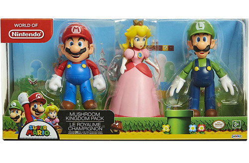 World of Nintendo Super Mario Mushroom Kingdom Figure 3-Pack [Mario, Peach & Luigi]