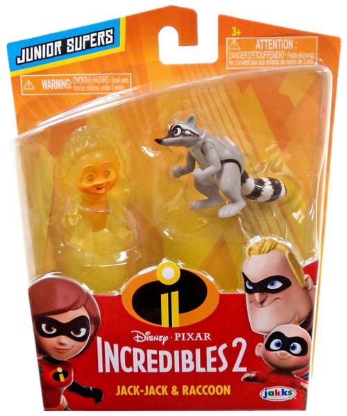 Disney / Pixar Incredibles 2 Junior Supers Jack-Jack & Raccoon 3-Inch Mini Figure 2-Pack