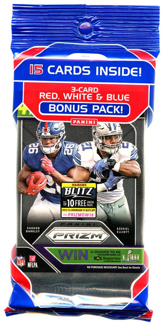 NFL Panini 2018 Prizm Football Trading Card VALUE Pack [15 Cards!]