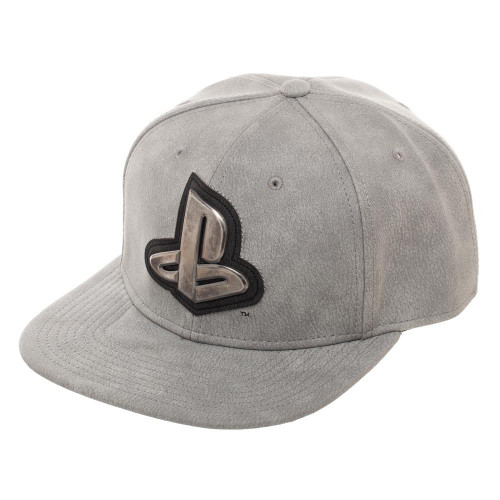 Distressed Metal PlayStation Logo Snapback Cap
