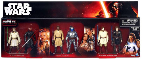 Star Wars Episodes 1-3 Jinn, Maul, Windu, Jango Fett, Obi-Wan & Anakin Exclusive Action Figure 6-Pack