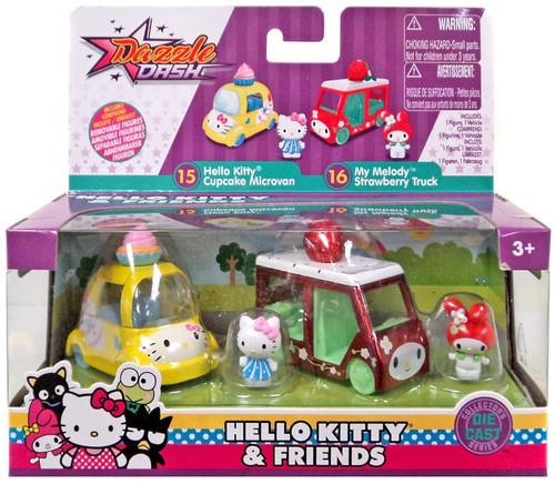 Dazzle Dash Hello Kitty Cupcake Microvan & My Melody Strawberry Truck Diecast Vehicle 2-Pack