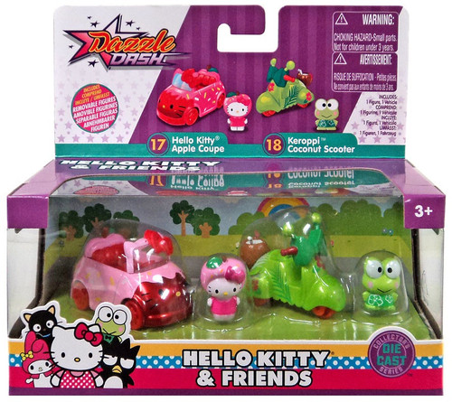 Dazzle Dash Hello Kitty Apple Coupe & Keroppi Coconut Scooter Diecast Vehicle 2-Pack