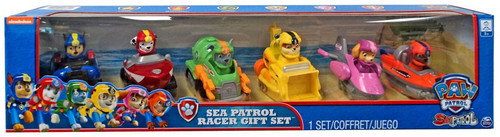 Paw Patrol Sea Patrol Racer Chase, Zuma, Rubble, Skye, Rocky & Marshall Exclusive Gift Set Figure 6-Pack