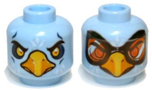 Blue Chima Eagle with Beak, Yellow Eyes / Orange Goggles Minifigure Head [Dual-Sided Loose]