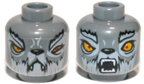 Wolf with Yellow Eyes, Fangs, Closed Mouth / Open Mouth Minifigure Head [Dual-Sided Loose]